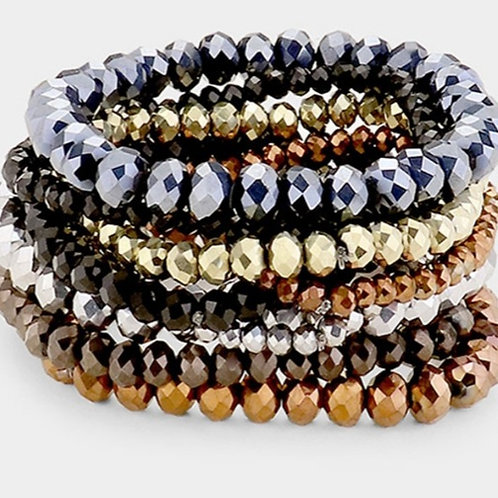 Faceted Bead Bracelets - Mixed Metals