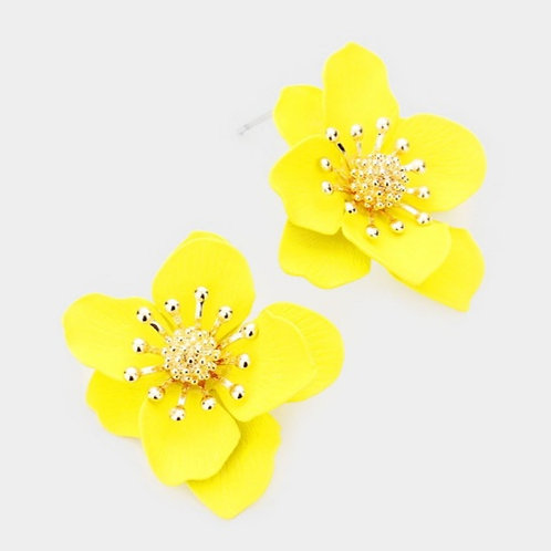 Bloom Flower Stud Earrings - Yellow
