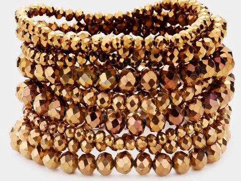 Faceted Bead Bracelets - Bronze