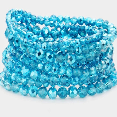 Faceted Bead Bracelets - Aqua