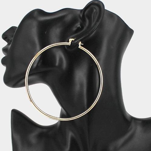 """Metal Hoop Earrings - 3"""" Gold"""