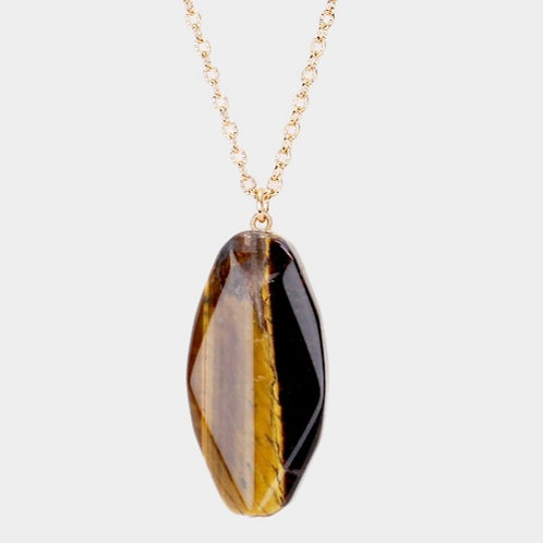 Long Natural Stone Necklace- Brown