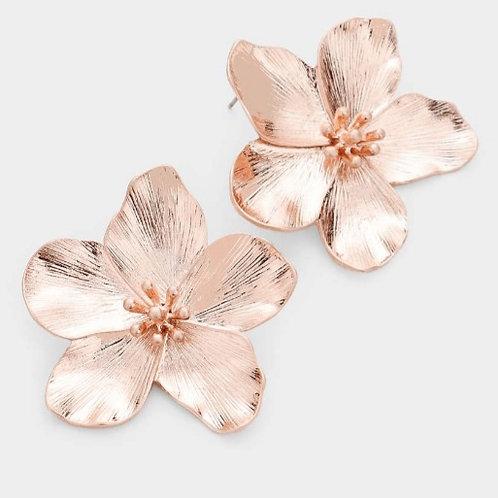 Textured Metal Flower Earrings - Rose Gold