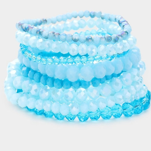 Faceted Bead Bracelets- Light Blue