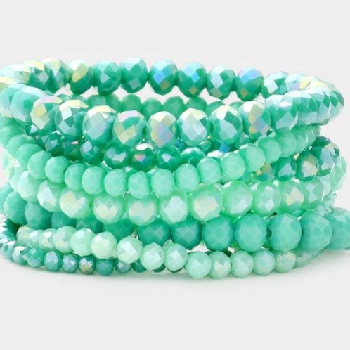 Faceted Bead Bracelets - Mint