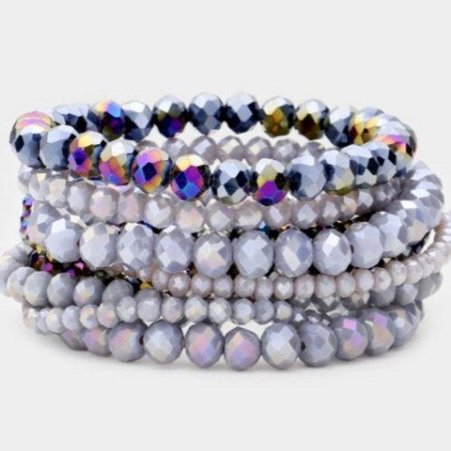 Faceted Bead Bracelets  - Grey