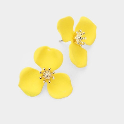 Triple Petal Flower Earrings - Yellow