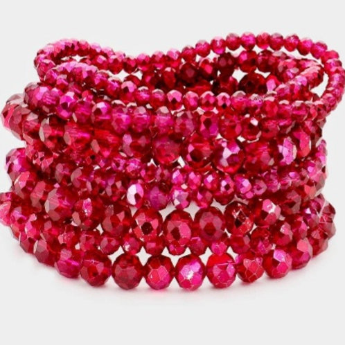 Faceted Bead Bracelets - Rose