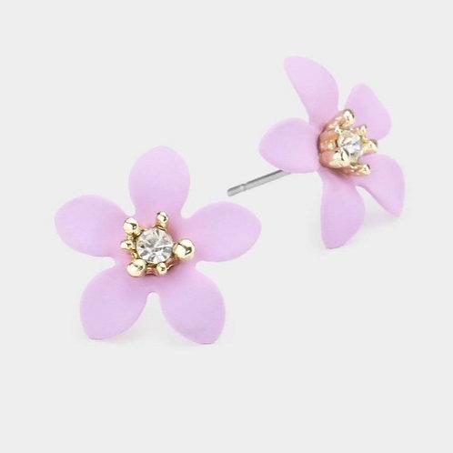 Rhinestone Flower Stud Earrings - Lavender