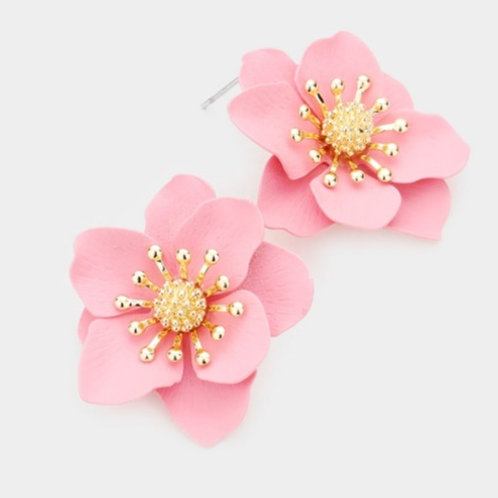Bloom Flower Stud Earrings- Dusty Rose