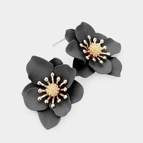 Bloom Flower Stud Earrings - Black