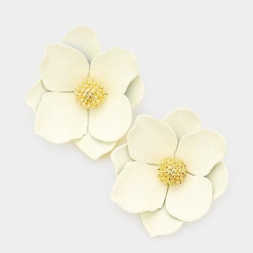 Bloom Flower Stud Earrings- Ivory