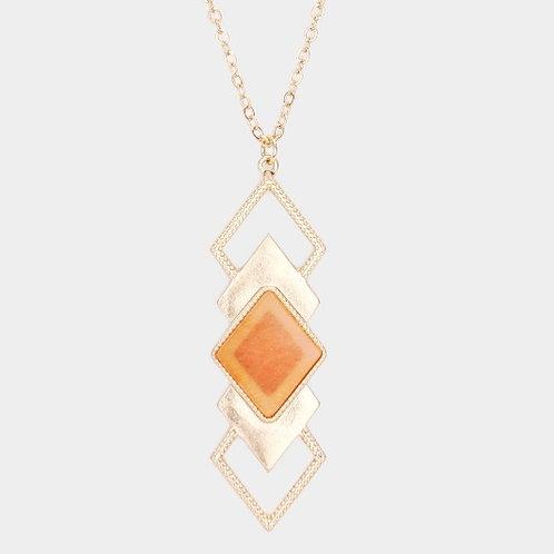 Long Geometric Necklace - Orange