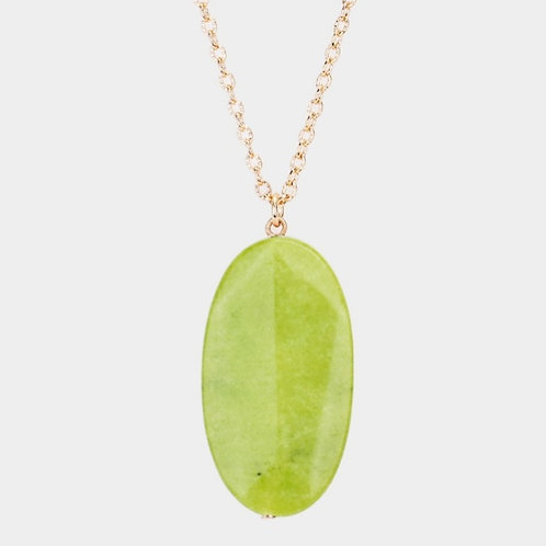 Long Natural Stone Necklace - Green