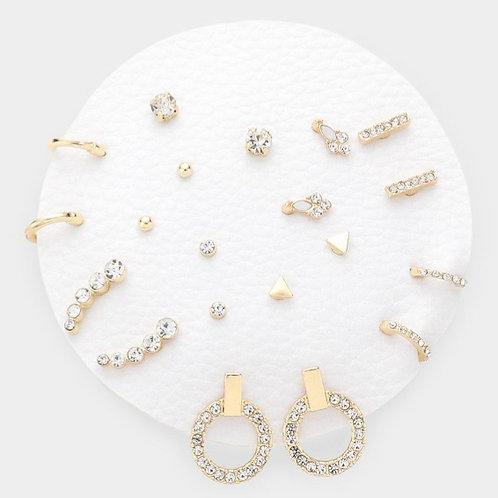 Geometric Mixed Stud Earrings - Rhinestone