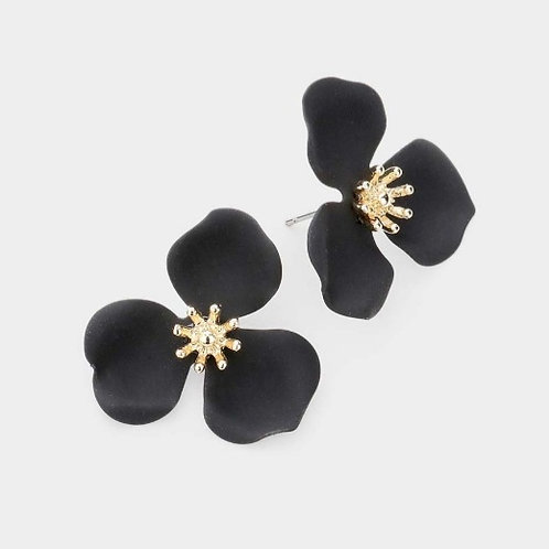 Triple Petal Flower Earrings - Black