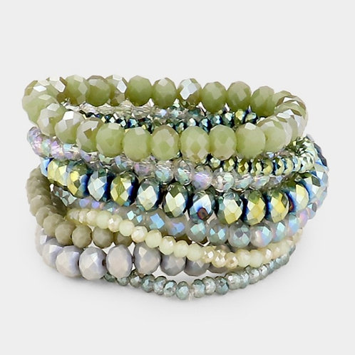 Faceted Bead Bracelets- Sage