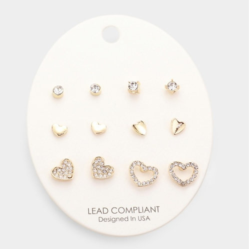Heart Mixed Stud Earrings - Round