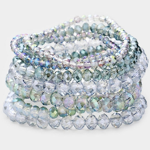 Faceted Bead Bracelets- Iridescent Grey