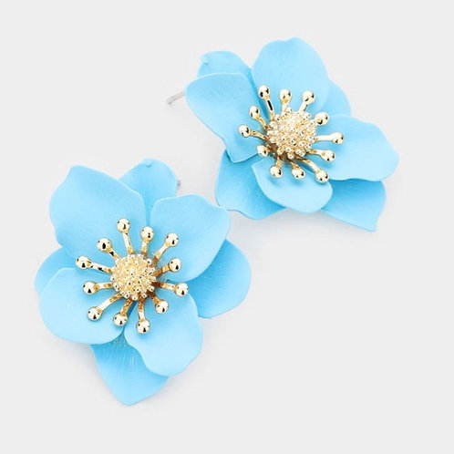 Bloom Flower Stud Earrings- Blue