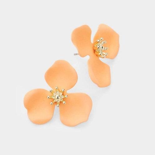 Triple Petal Flower Earrings - Coral