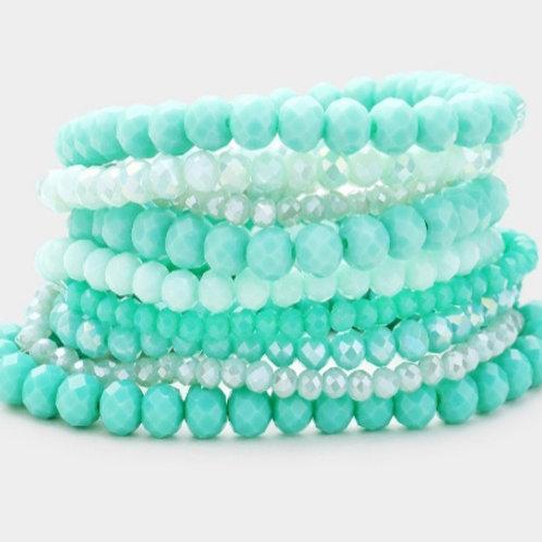 Faceted Bead Bracelets- Seafoam