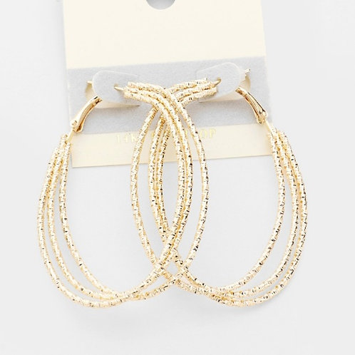 Gold Filled Textured Hoop Earrings