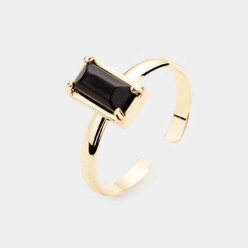 Semi Precious Rectangle Ring - Jet Black