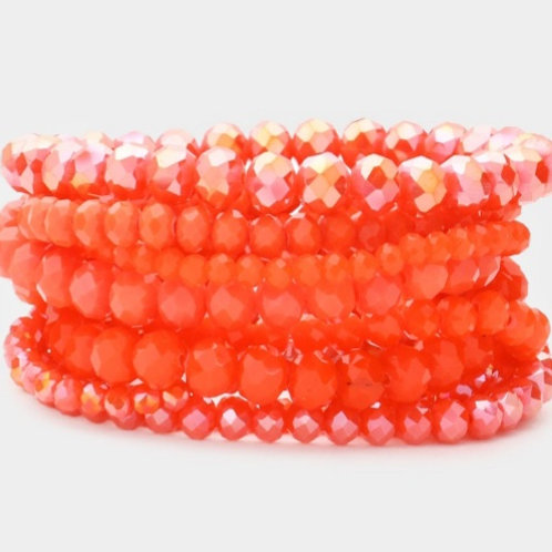 Faceted Bead Bracelets - Orange