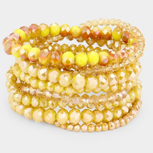 Faceted Bead Bracelets - Mustard