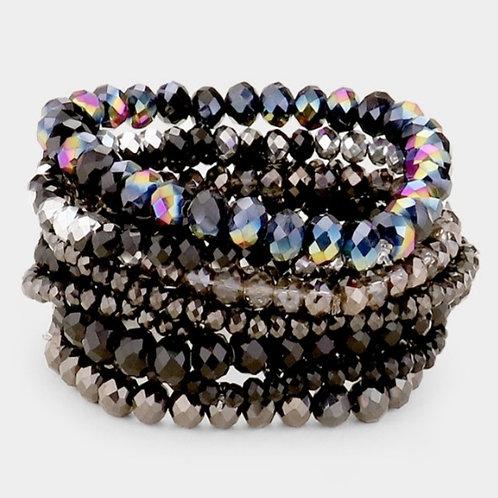Faceted Bead Bracelets- Black