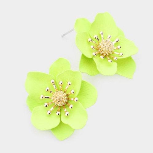 Bloom Flower Stud Earrings - Green