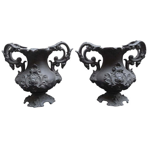 Pair of Early 20th Century Decorative Cast Iron Urns