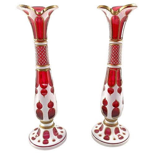 19th Century Pair of Bohemian Ruby Glass Vases with White Enamel