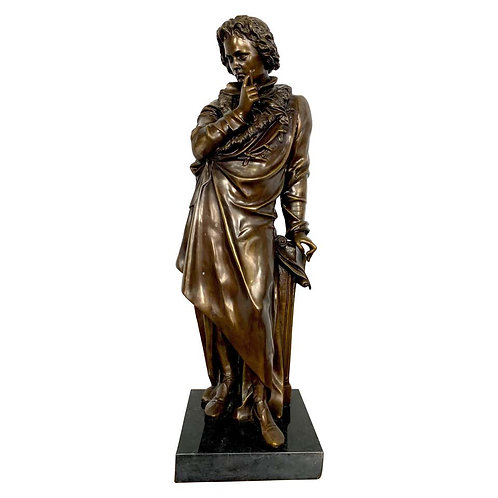 20th Century French Bronze Beethoven Sculpture on Marble Base