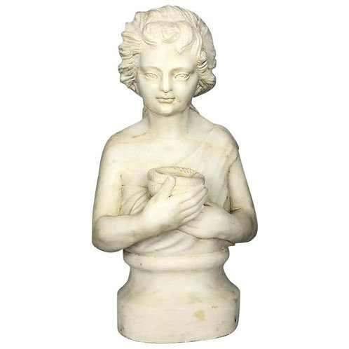 19th Century Marble Bust of a Child Holding a Birds Nest