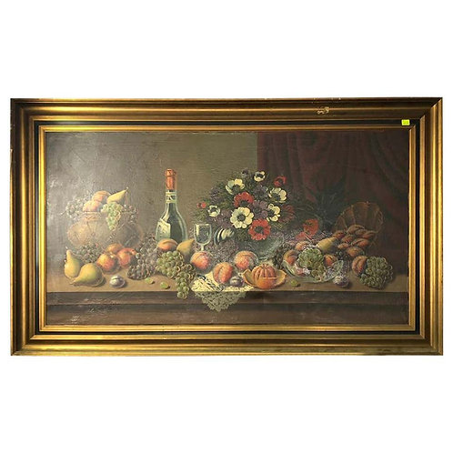 Oil on Canvas Still Life of Fruit and Wine, Signed, 20th Century