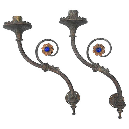 Pair of 19th Century Hardman Studio Brass Gothic Triple Candelabra
