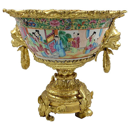 19th Century Fine Cantonese Famille Rose and Ormolu Mounted Two Handled Bowl