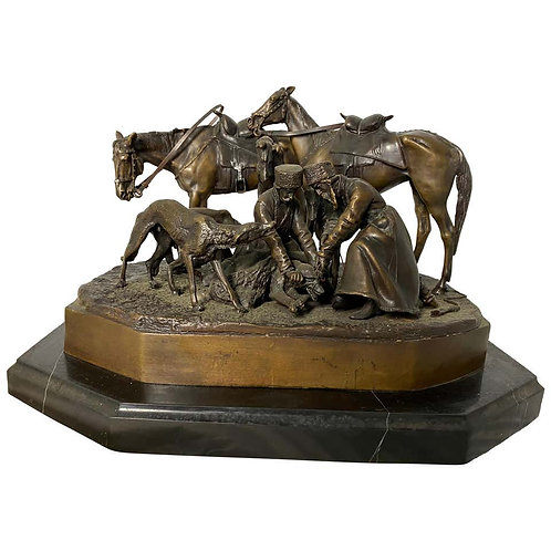 Bronze Sculpture of Russian Hunting Party, 19th Century