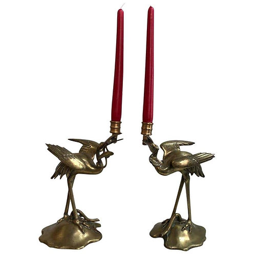 Pair of Brass Stalk Candelabras, 19th Century