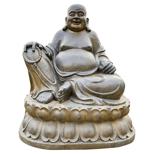 20th Century Large Bronze Laughing Budai, Italian Bronze Garden Ornament