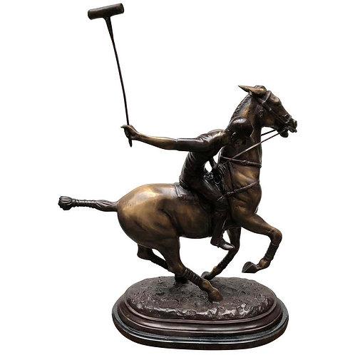 Bronze Polo Player Horse Jockey Statue Casting, 20th Century