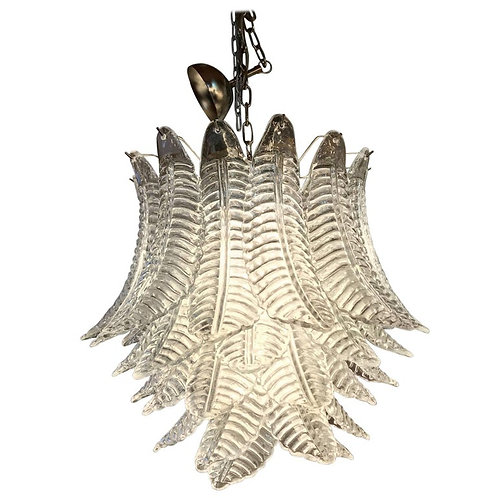 1970s Merano Glass Feather Chandelier