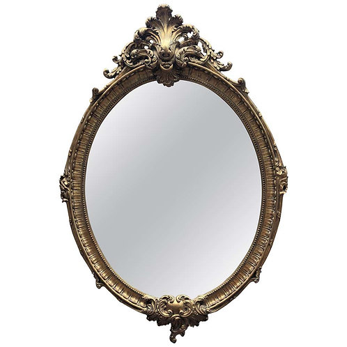 French Louis XVI Gilt Oval Mirror Glass Pier Mirror, 20th Century