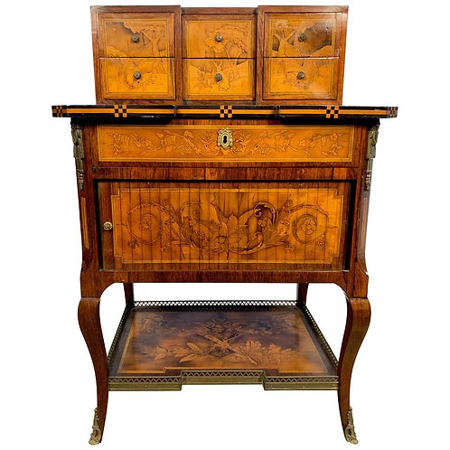 18th French Satinwood and Marquetry Inlaid Desk