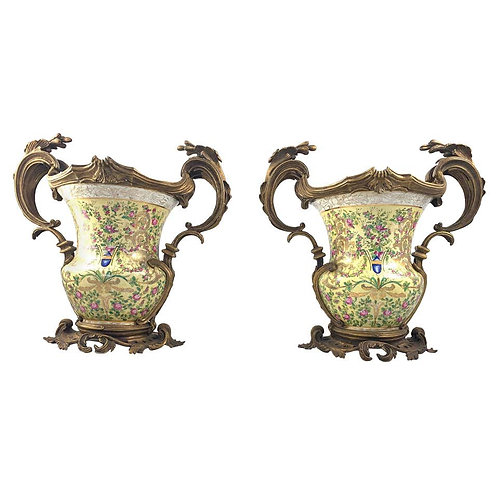 20th Century Pair of French Porcelain and Ormolu-Mounted Twin Handled Urns