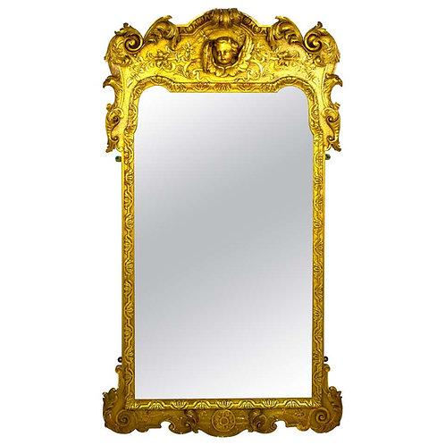 French Carved Wood and Gilt Cherub Acanthus Wall Mirror
