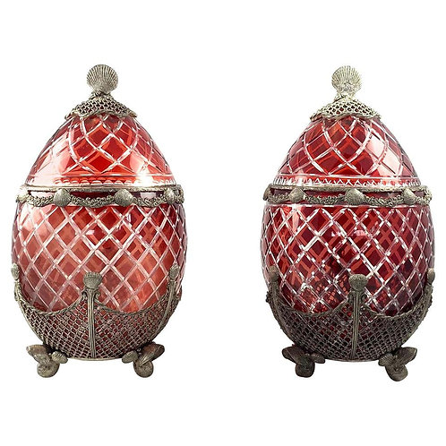 20th Century Large Impressive Pair of Bohemian Ruby Glass Urns with Covers