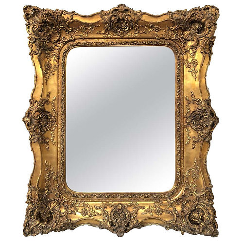 Victorian Gilt Mantle Mirror with Florid Details, 20th Century